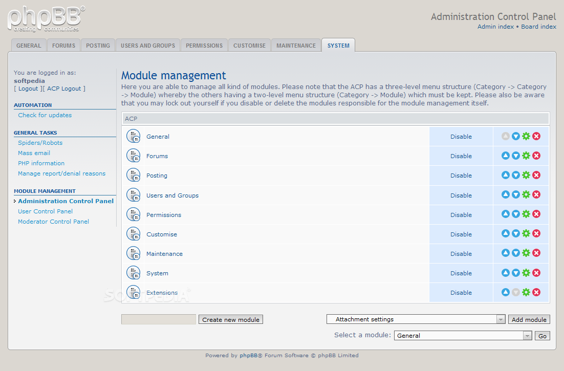 phpBB - For each control panel, the admin can manage the active modules