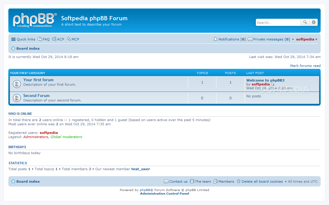 phpBB - On the frontend, the forum comes with a default responsive skin