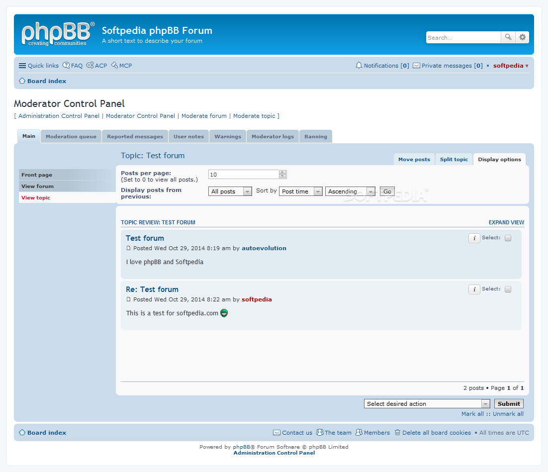 phpBB - A special control panel is included for moderators