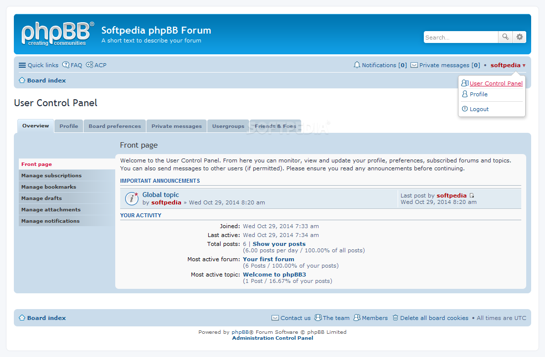 phpBB - Users have their own account control panel as well