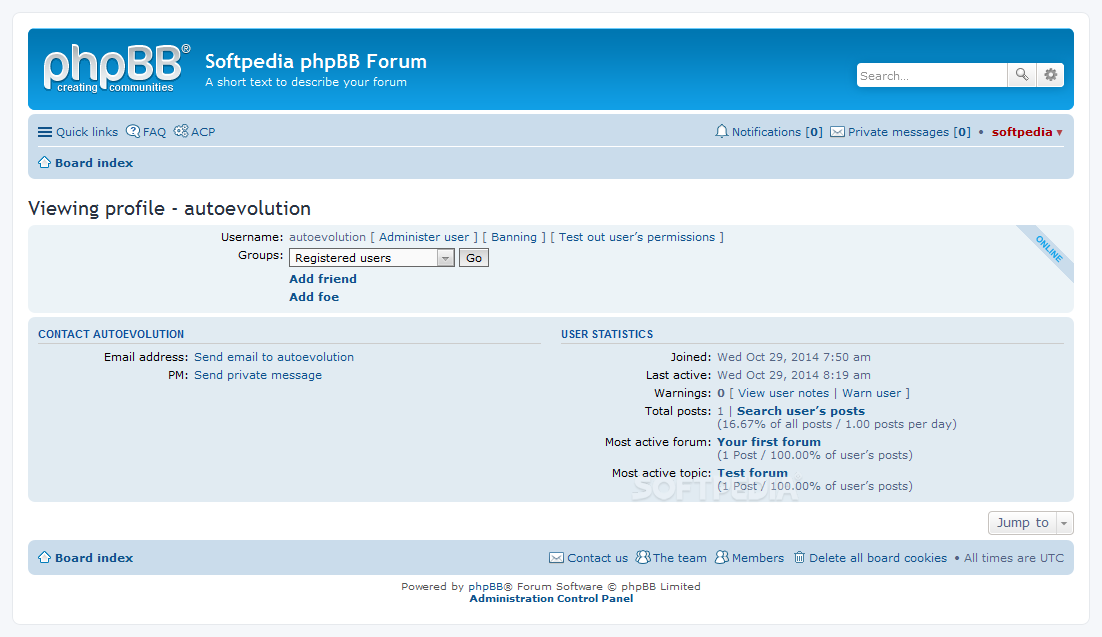 phpBB - Public profile pages are included for each user