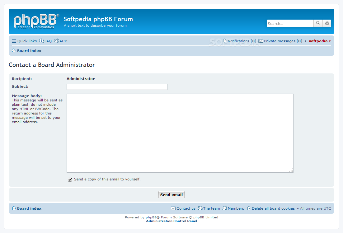 phpBB - The contact page can be used to talk to the site's ownership