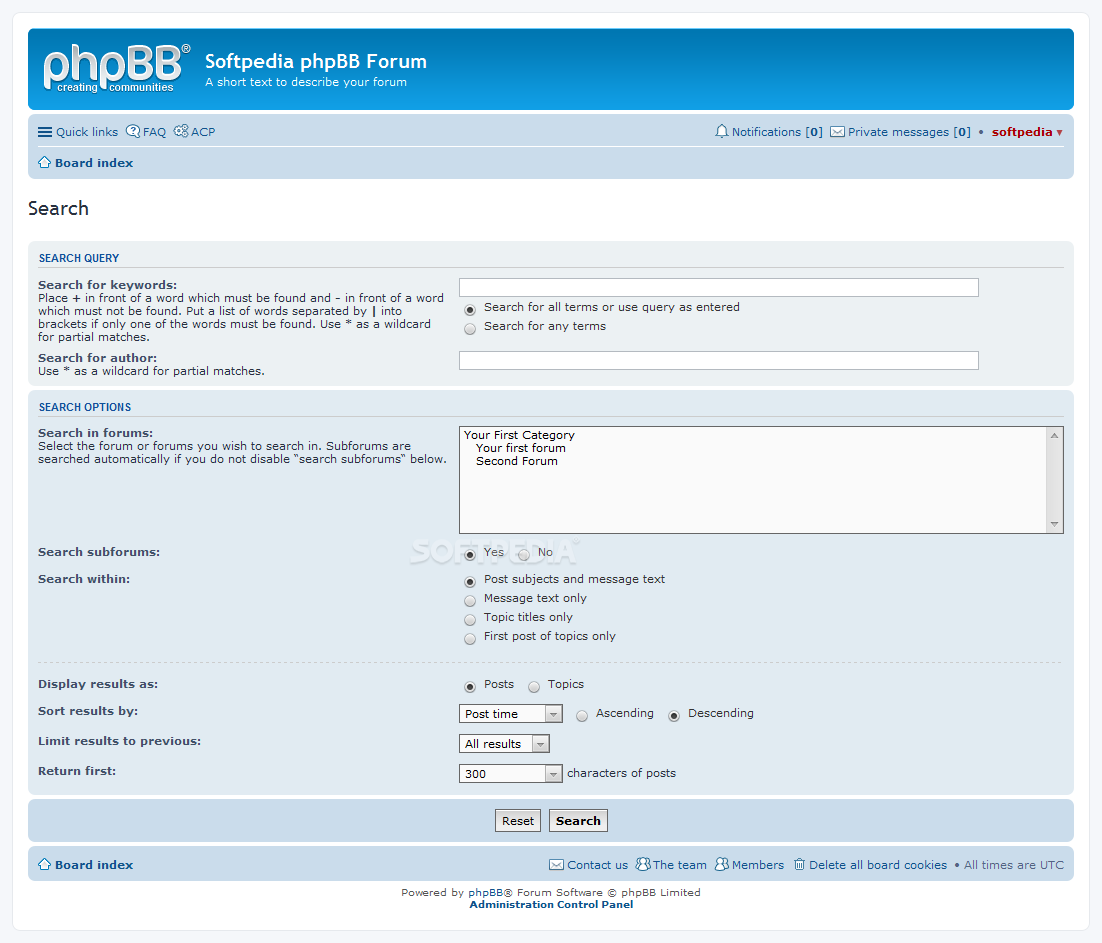 phpBB - A special search page is also included