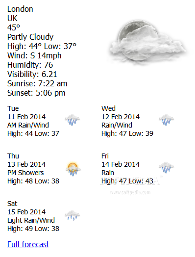zWeatherFeed - Weather forecasts are also available for multiple days